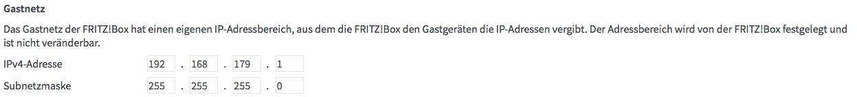 FritzBox IP-Bereich Gastnetz